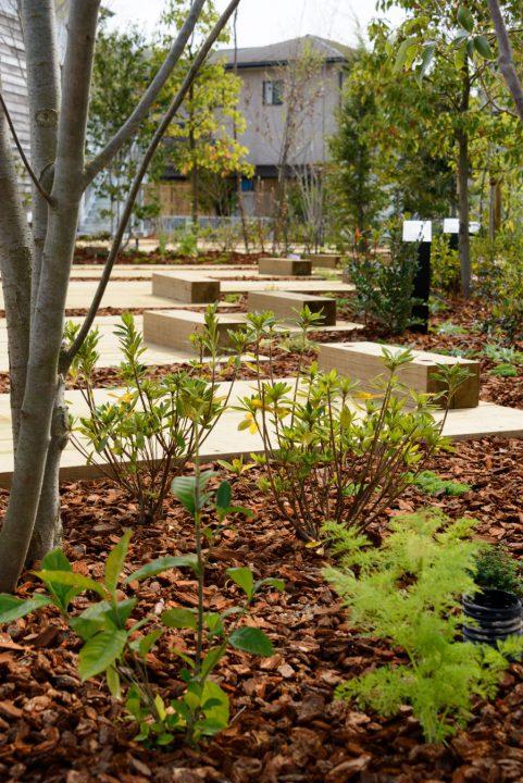 倉敷市に完成した林のカフェ。駐車スペースは枕木を敷いています。