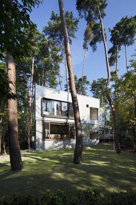 森の中に完成した絶景を楽しむ別荘、木々と青空の雄大な高級住宅外観