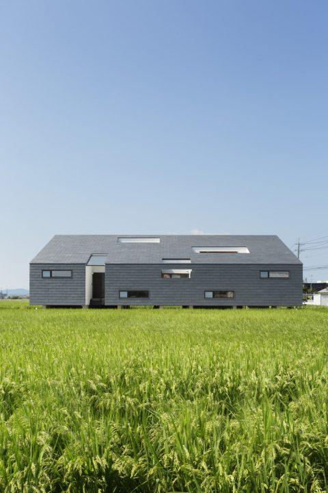 田園風景に浮かぶように建つ存在感のある高級住宅