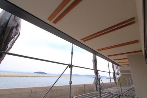 倉敷市に建築中の平屋、テラスからの眺め