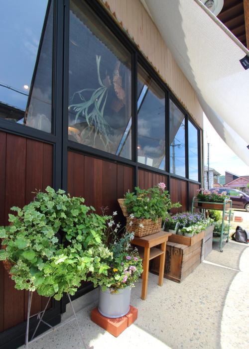 住宅の廃材の鮮やかなアフゼリアがいいアクセントになっている店舗外観