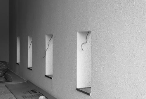 倉敷市に建築中の平屋、オシャレな細工を施したエントランス
